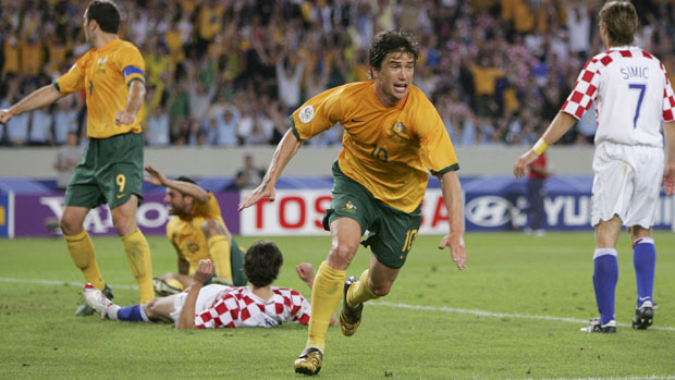 Harry Kewell celebrates scoring against Croatia at the 2006 World Cup.