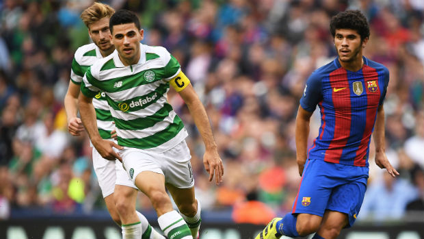 Tom Rogic in action for Celtic against Barcelona in the ICC tournament.