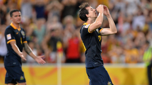 Socceroo Robbie Kruse rues a missed chance on goal against Korea Republic.