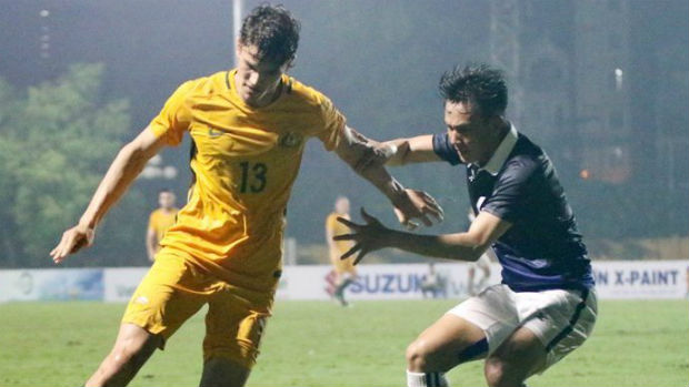 Young Socceroos striker George Blackwood in action against Vietnam. Image courtesy of Vietnam Football Federation