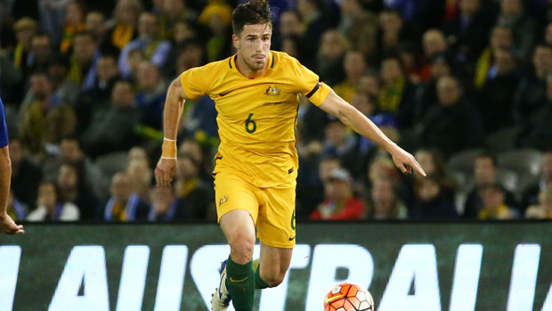 Socceroos defender Milos Degenek in full flight against Greece during the Dodoni Series.