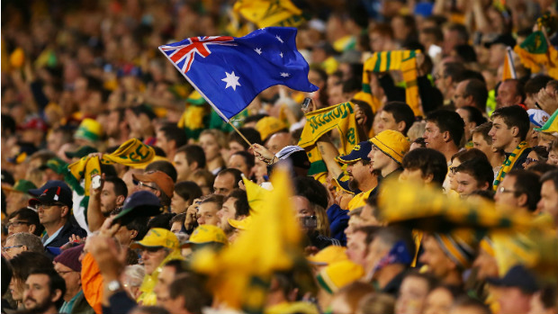 Socceroos fans show their support against UAE at Newcastle Stadium.