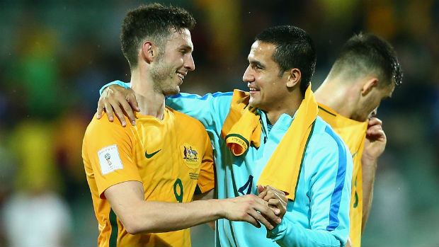Caltex Socceroos strikers Apostolos Giannou and Tim Cahill.