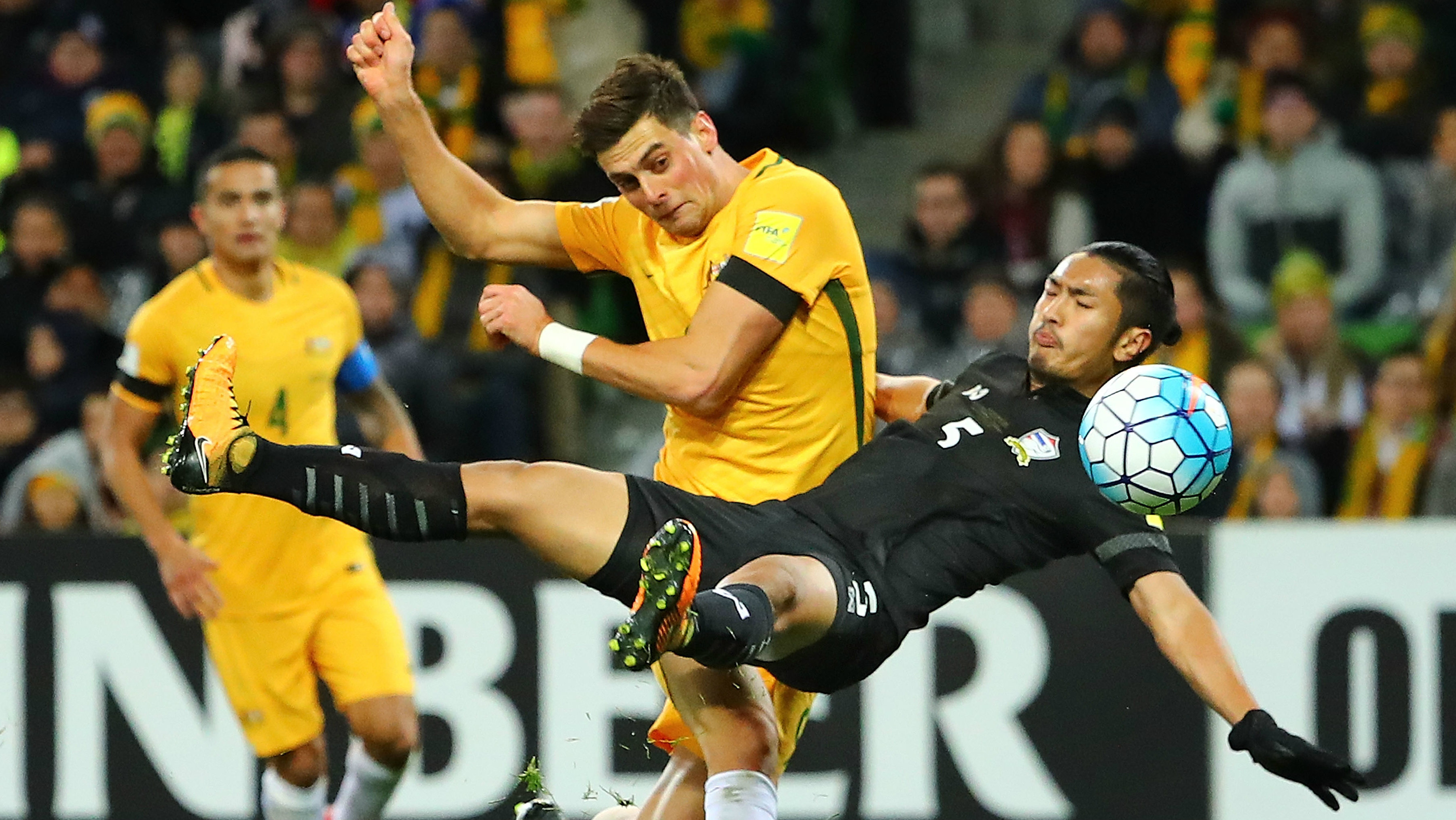 Tomi Juric gets a shot away during the Caltex Socceroos' 2-0 win over Thailand.