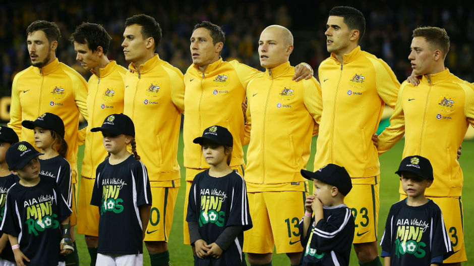 The Caltex Socceroos ahead of kick-off against Greece in Melbourne in June.
