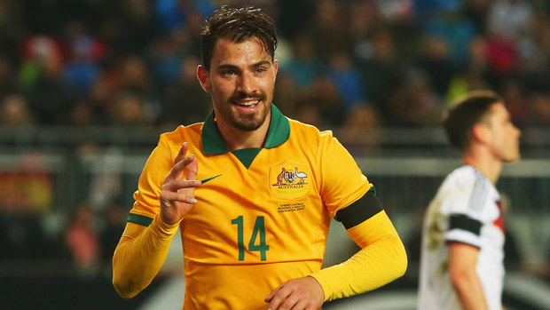 James Troisi celebrates after scoring against Germany.