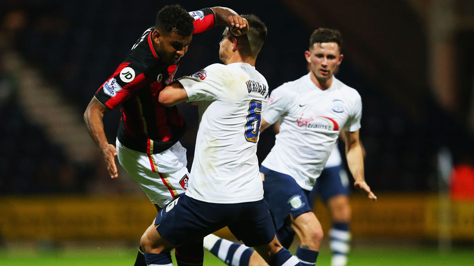 Bailey Wright in Capital One Cup action for Preston North End.