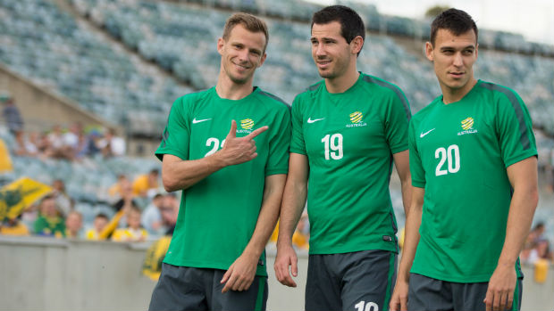 Socceroos defenders Alex Wilkinson, Ryan McGowan and Trent Sainsbury.