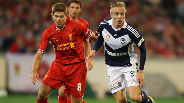 Steven Gerrard in action against Melbourne Victory.