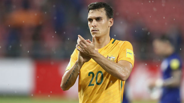 Trent Sainsbury thanks Aussie supporters in Bangkok following the Caltex Socceroos' draw against Thailand.