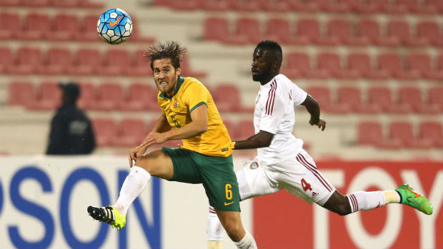Olyroos midfielder Josh Brillante latches onto possession against the UAE.