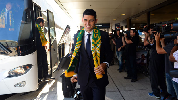 Socceroo Tom Rogic arrives in Canberra on Tuesday.