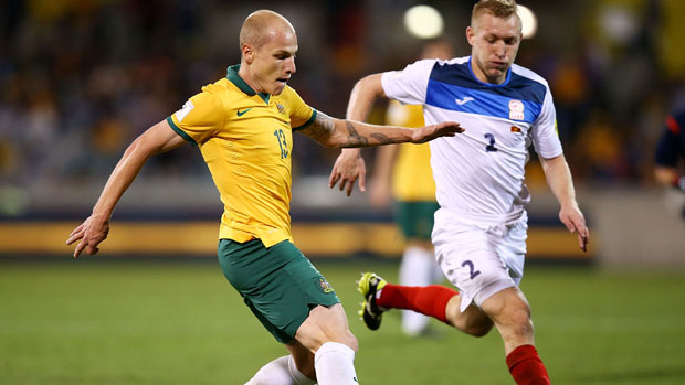 Aaron Mooy on the ball against Kyrgyzstan.