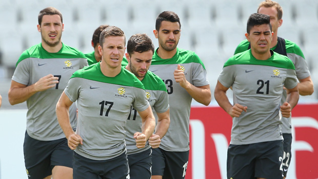 The Socceroos players are put through their paces.