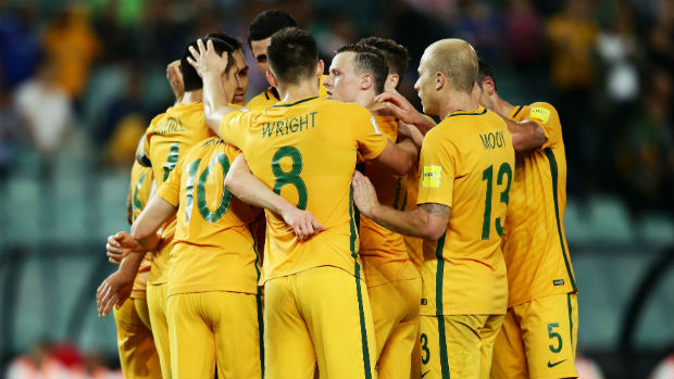 The Caltex Socceroos celebrate scoring against Jordan at Allianz Stadium on Tuesday night.