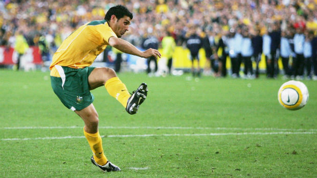 John Aloisi converts the Socceroos' decisive penalty against Uruguay on November 16 2005.