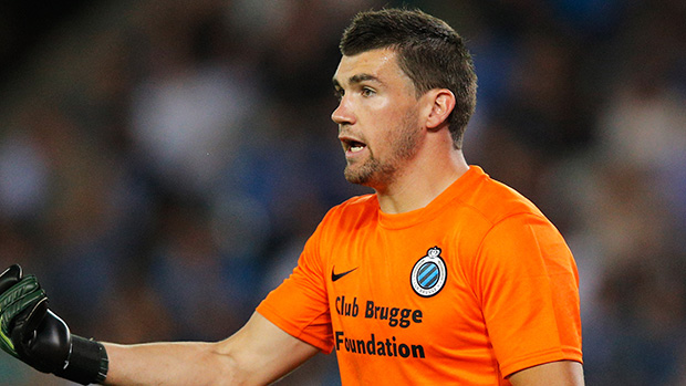 Mat Ryan in action for Club Brugge in the UEFA Europa League.