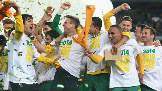 Socceroos celebrate 2014 WCQ win over Iraq.