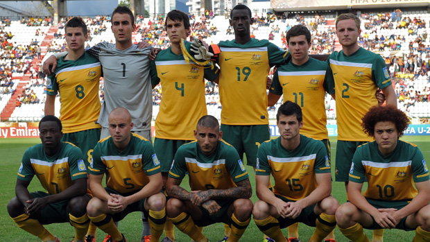 Mark Birighitti in action for the Young Socceroos.