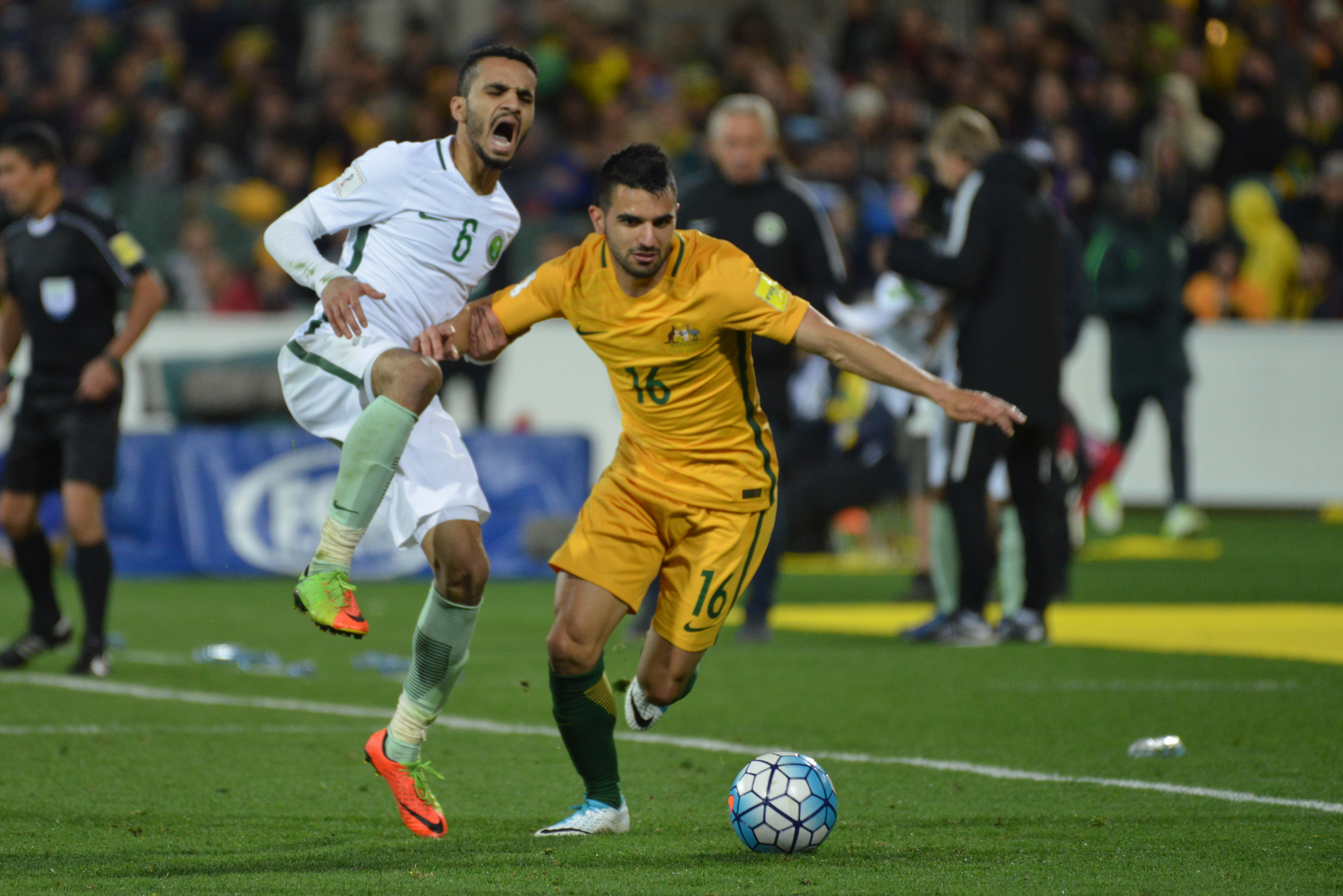 Aziz Behich was brought on at the break and Australia immediately got back on the front foot.