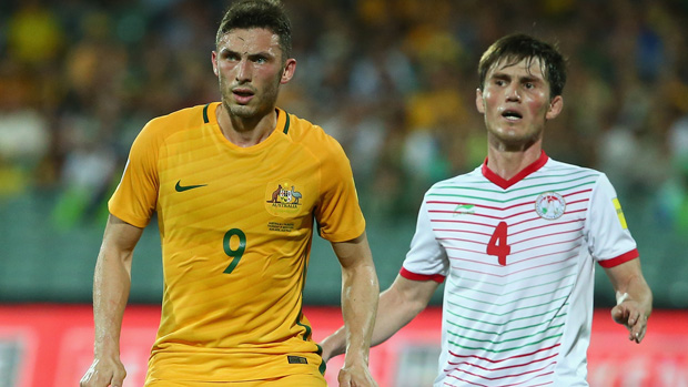 Apostolos Giannou in action for the Socceroos against Tajikistan.
