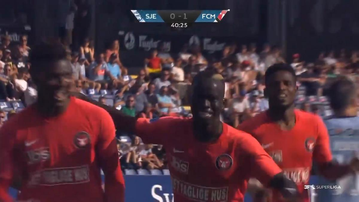 Caltex Socceroo Awer Mabil scores his first goal of the season in Denmark
