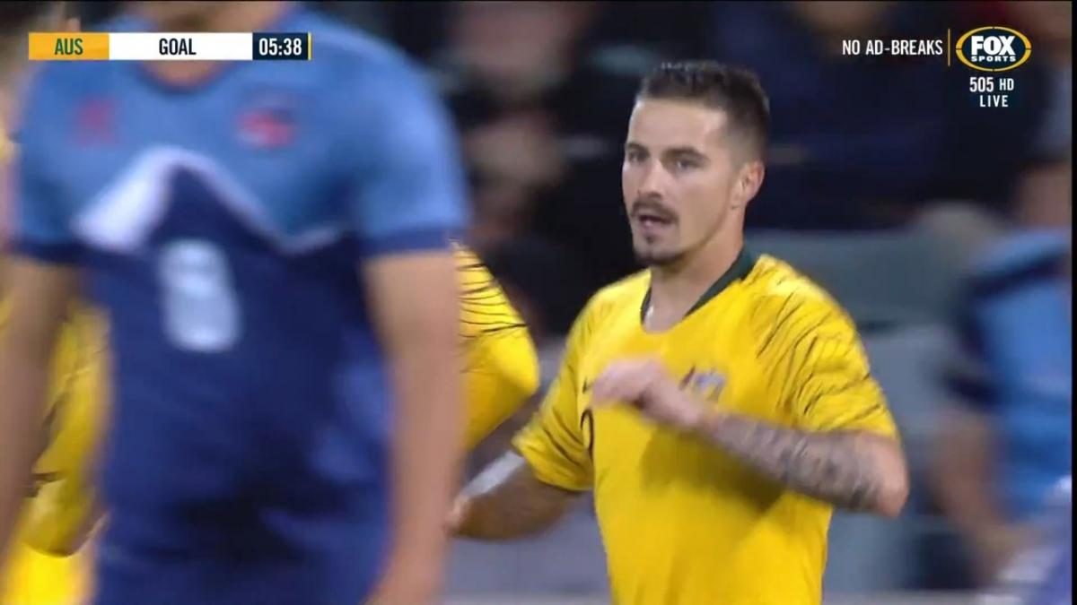 Maclaren opens the scoring for Socceroos against Nepal