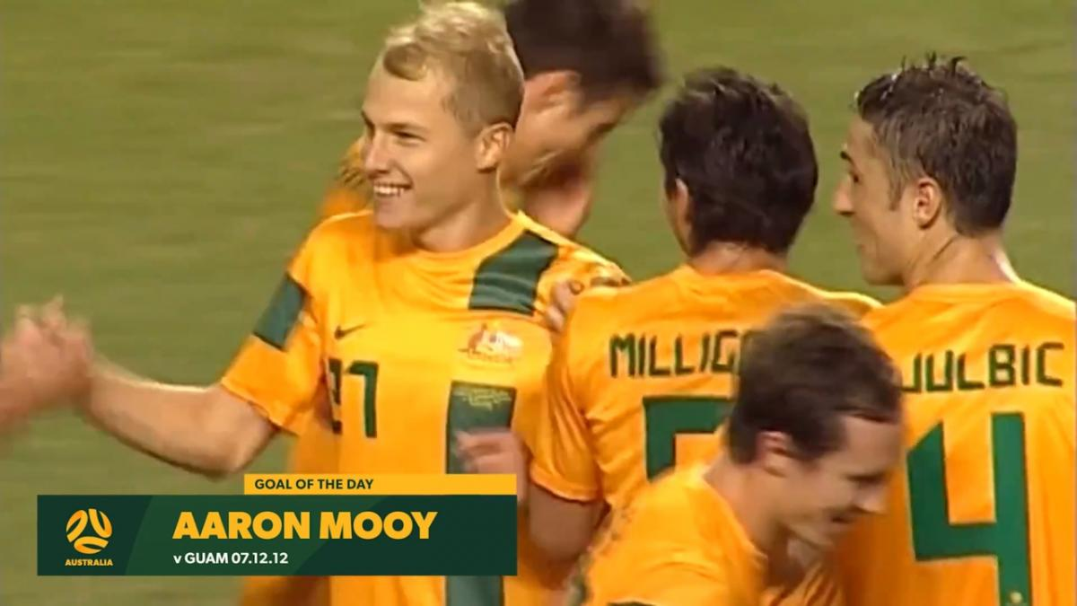 Aaron Mooy buries free kick on Socceroos debut in 2012