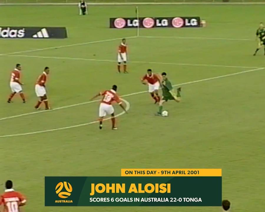 John Aloisi scores six goals against Tonga in 2001