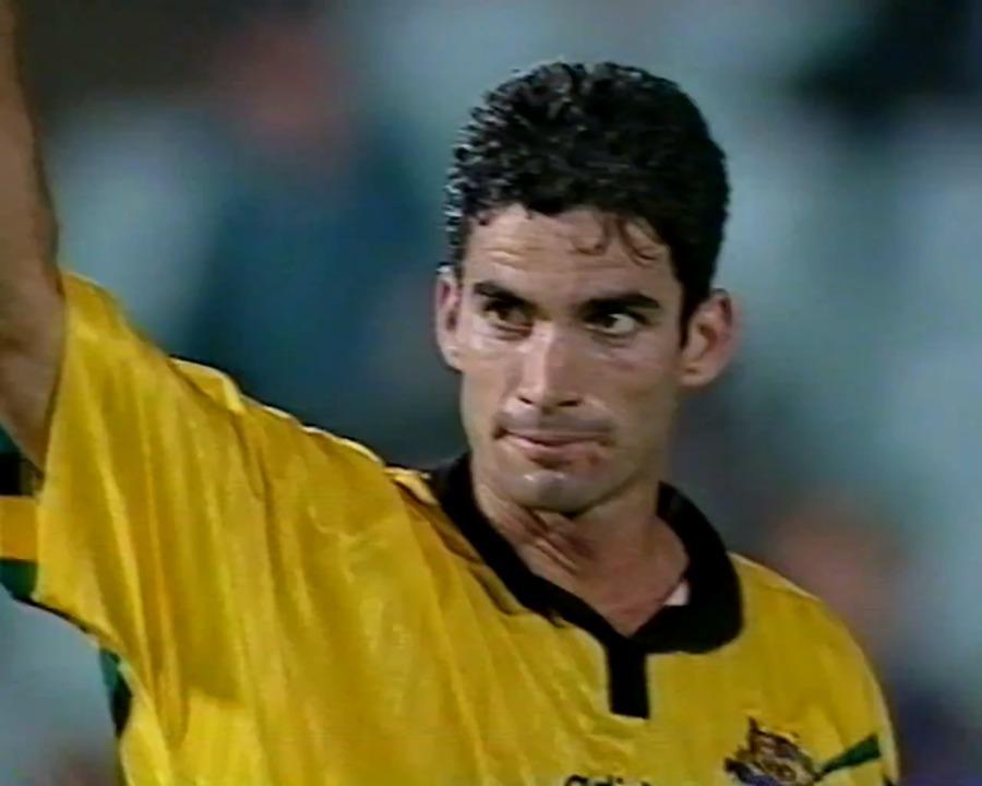 Craig Foster scores against Solomon Islands