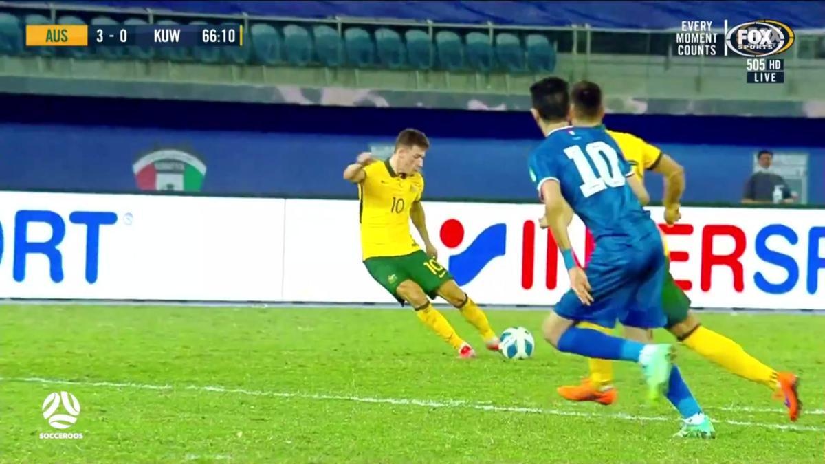 Milos Degenek's first Socceroos goal