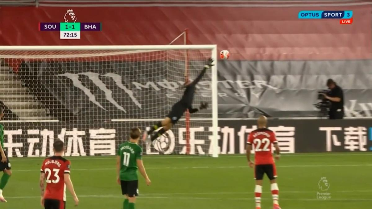Mat Ryan's save of season contender in Brighton's draw with Southampton