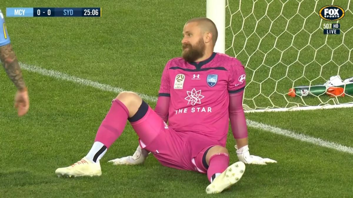 Andrew Redmayne makes a top point-black save v Melbourne City FC
