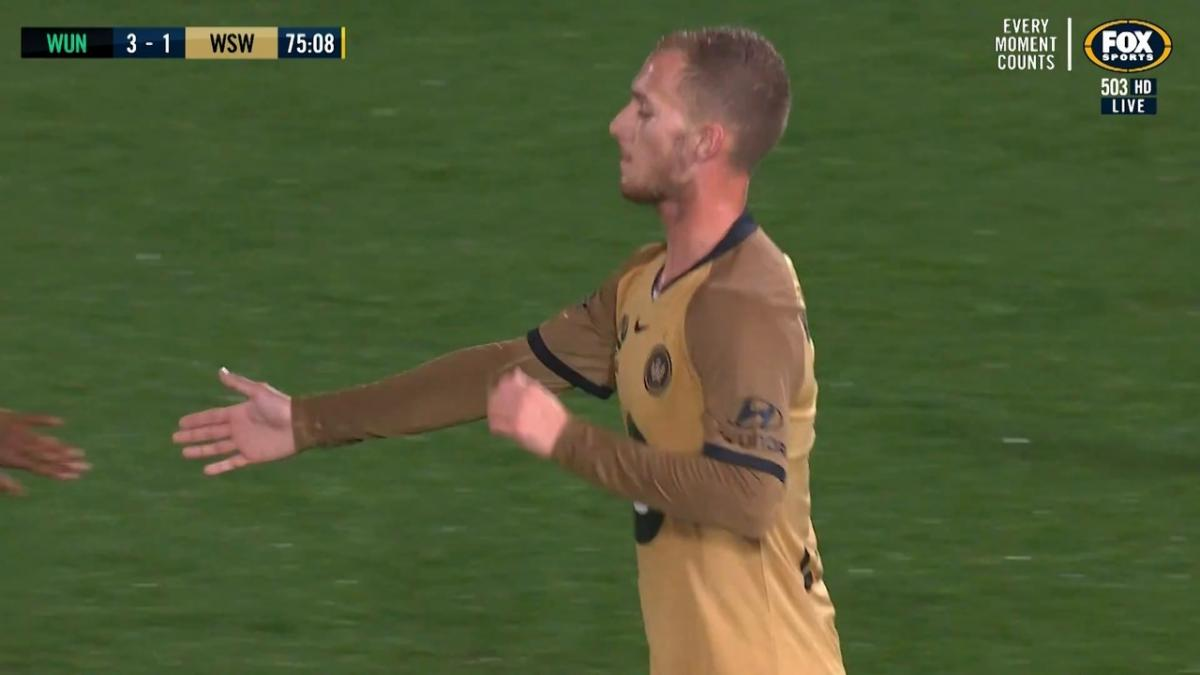 U-23's Tass Mourdoukoutas scores classy backheel goal for the Wanderers