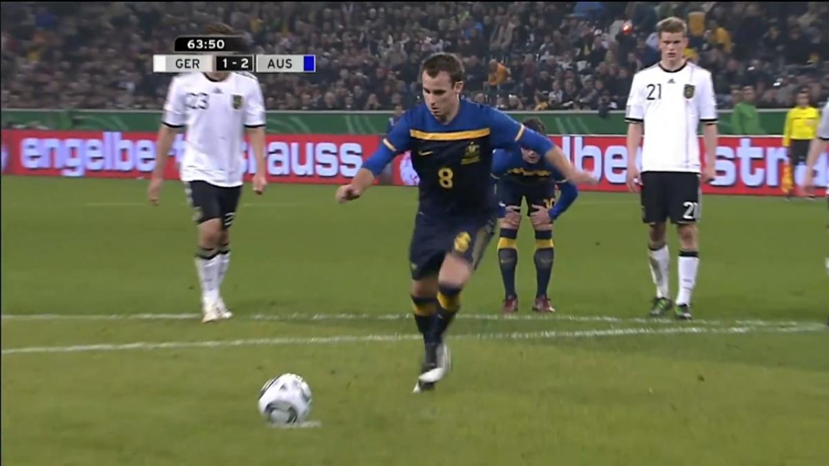 Luke Wilkshire gives Socceroos lead v Germany in 2011 International Friendly