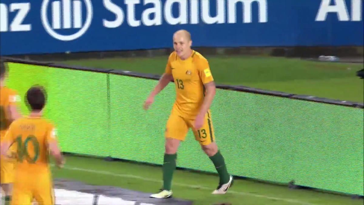 SAVE: Danny Vukovic with a sharp save at the near post | Australia v Chinese Taipei
