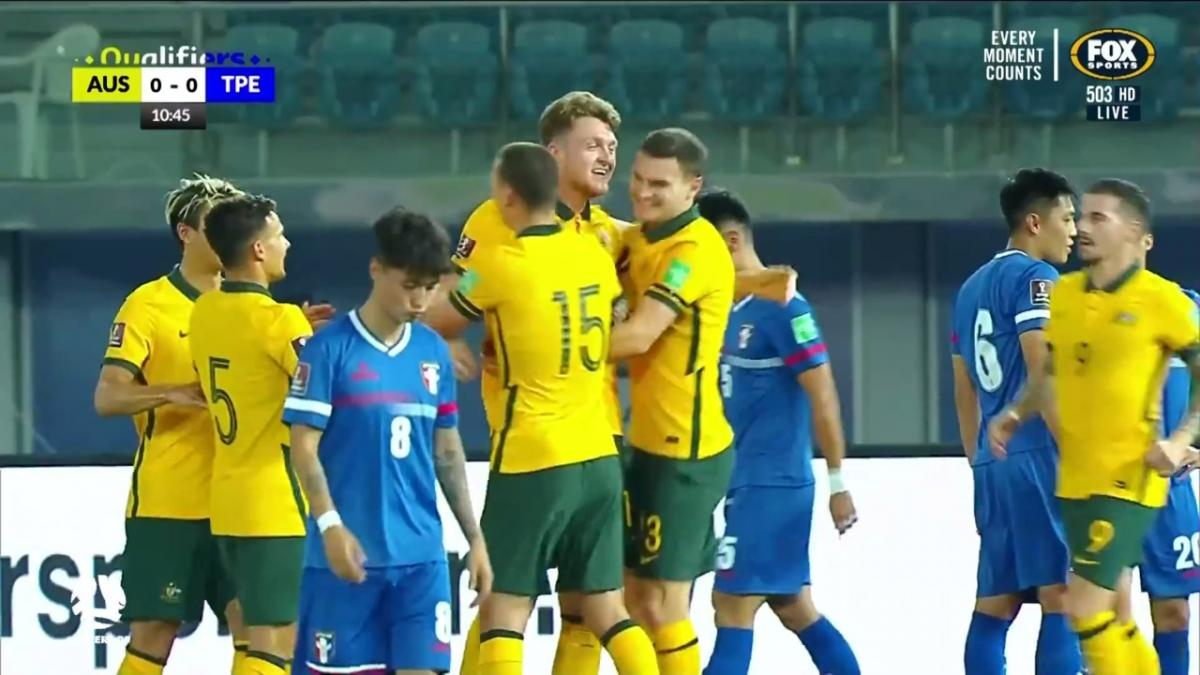 GOAL: Harry Souttar opens scoring with fifth Socceroos goal in three games | Australia v Chinese Taipei