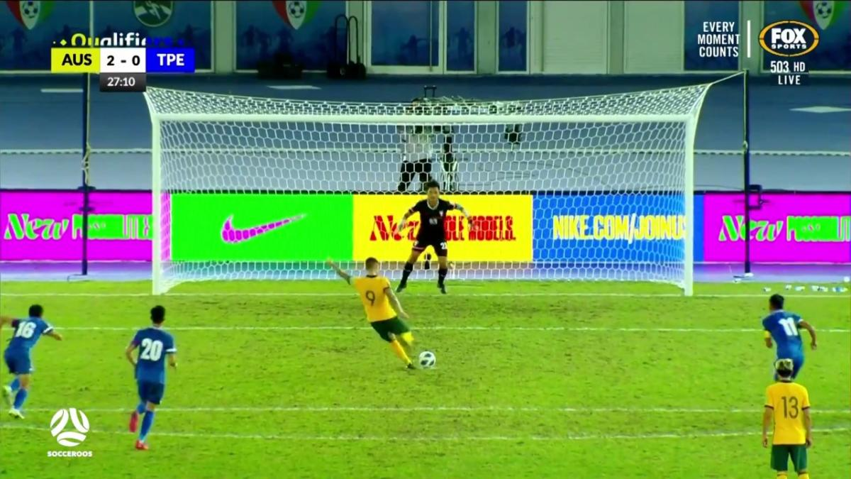 GOAL: Jamie Maclaren scores from the penalty spot for Socceroos | Australia v Chinese Taipei