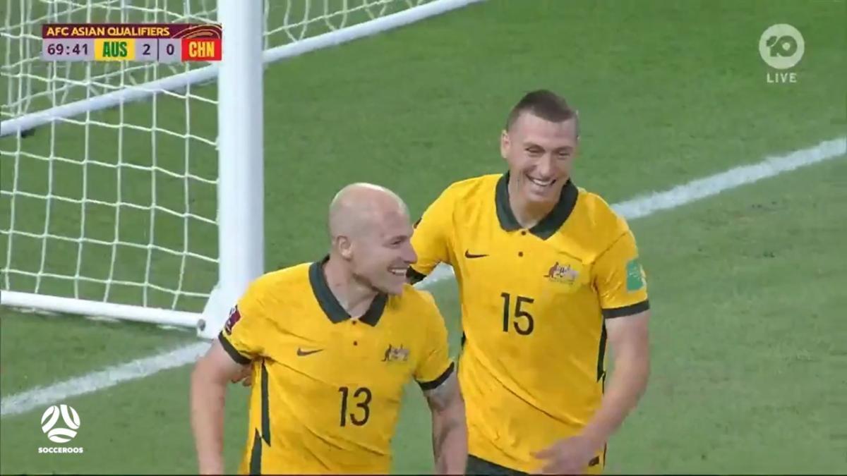 GOAL: Trent Sainsbury scores Socceroos' third goal | Australia v Chinese Taipei