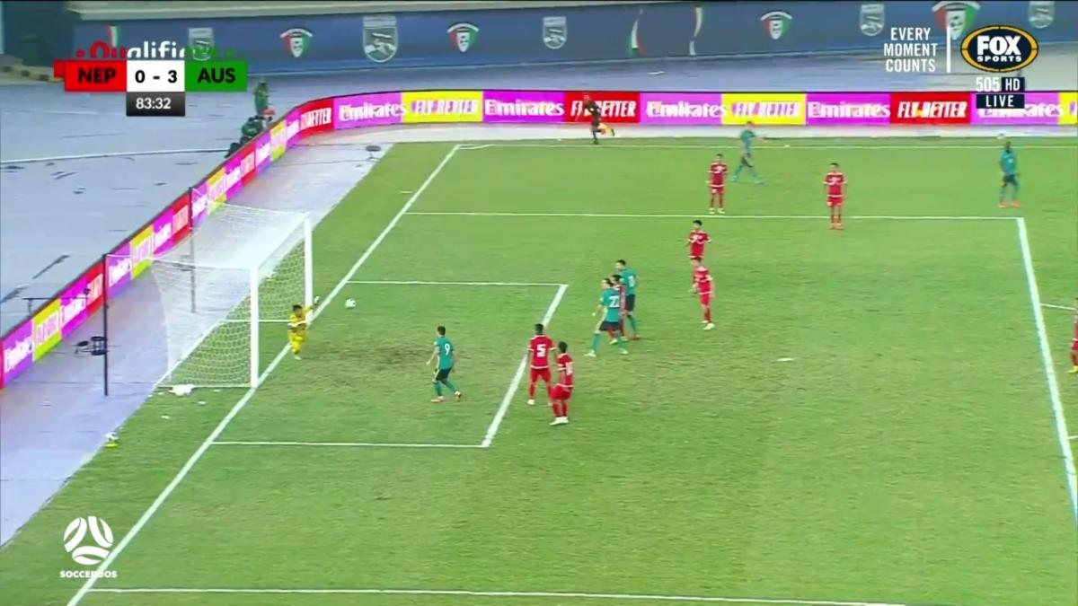 CHANCE: Jamie Maclaren has header on goal saved | Australia v Nepal