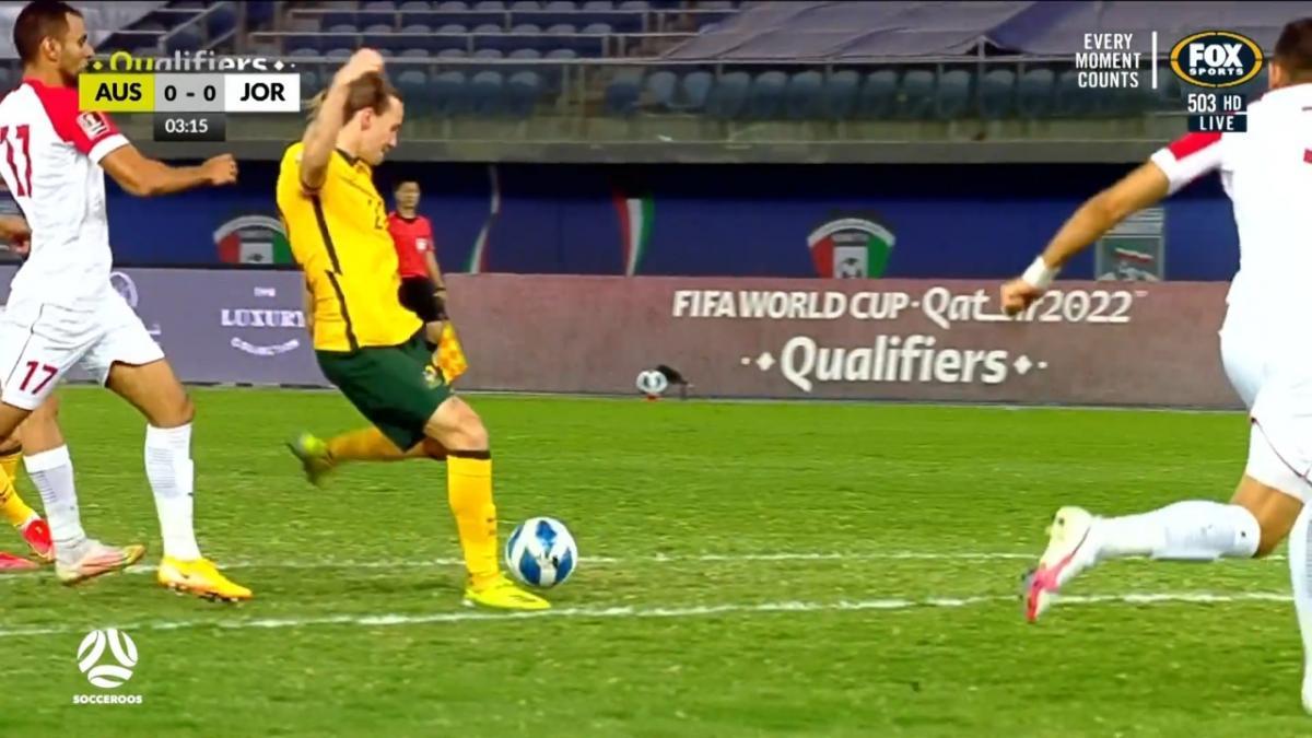 CHANCE: Jackson Irvine fires an early shot on goal | Australia v Jordan | FIFA World Cup 2022 qualifier