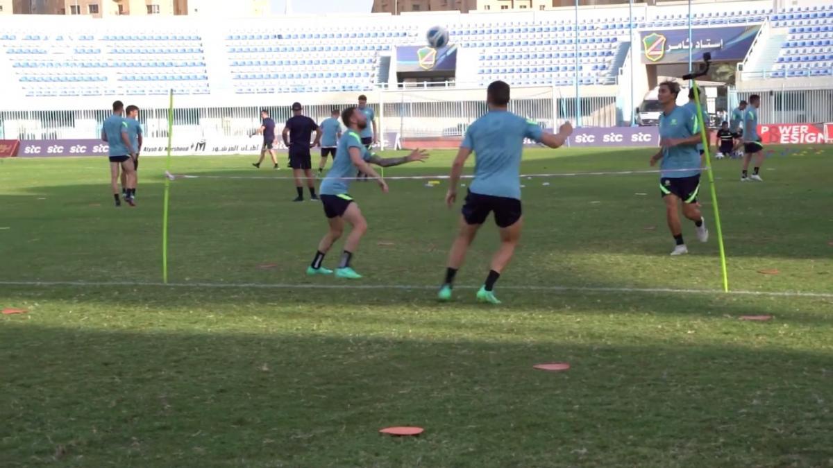 Socceroos play foot tennis in camp