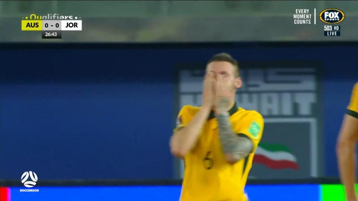 CHANCE: Martin Boyle gives the dead ball some life | Australia v Jordan | FIFA World Cup 2022 qualifier