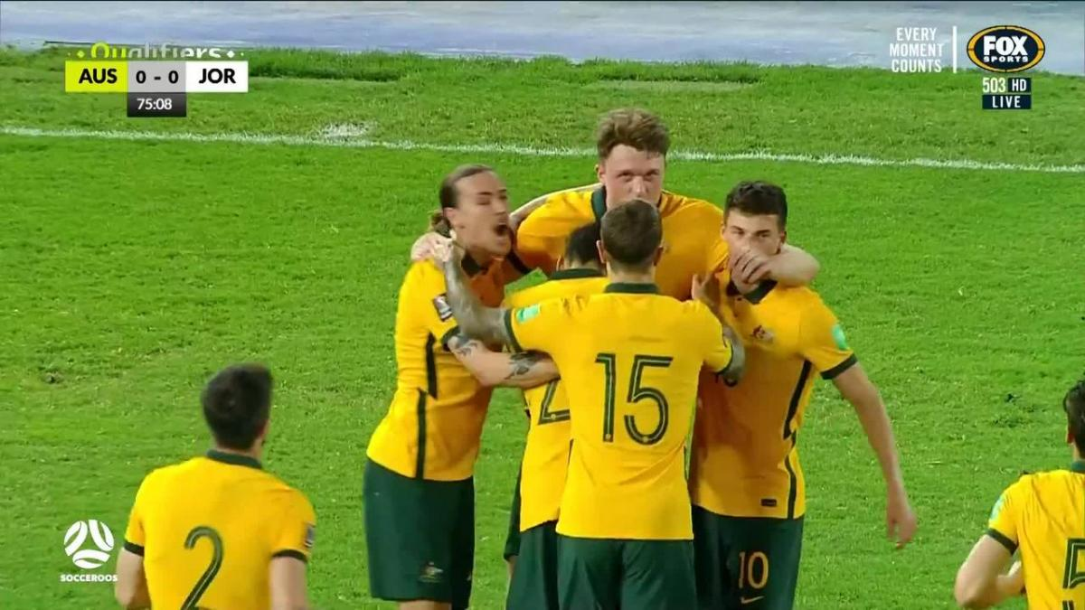 GOAL: Harry Souttar heads home Socceroos' winning goal | Australia v Jordan | FIFA World Cup 2022 qualifier
