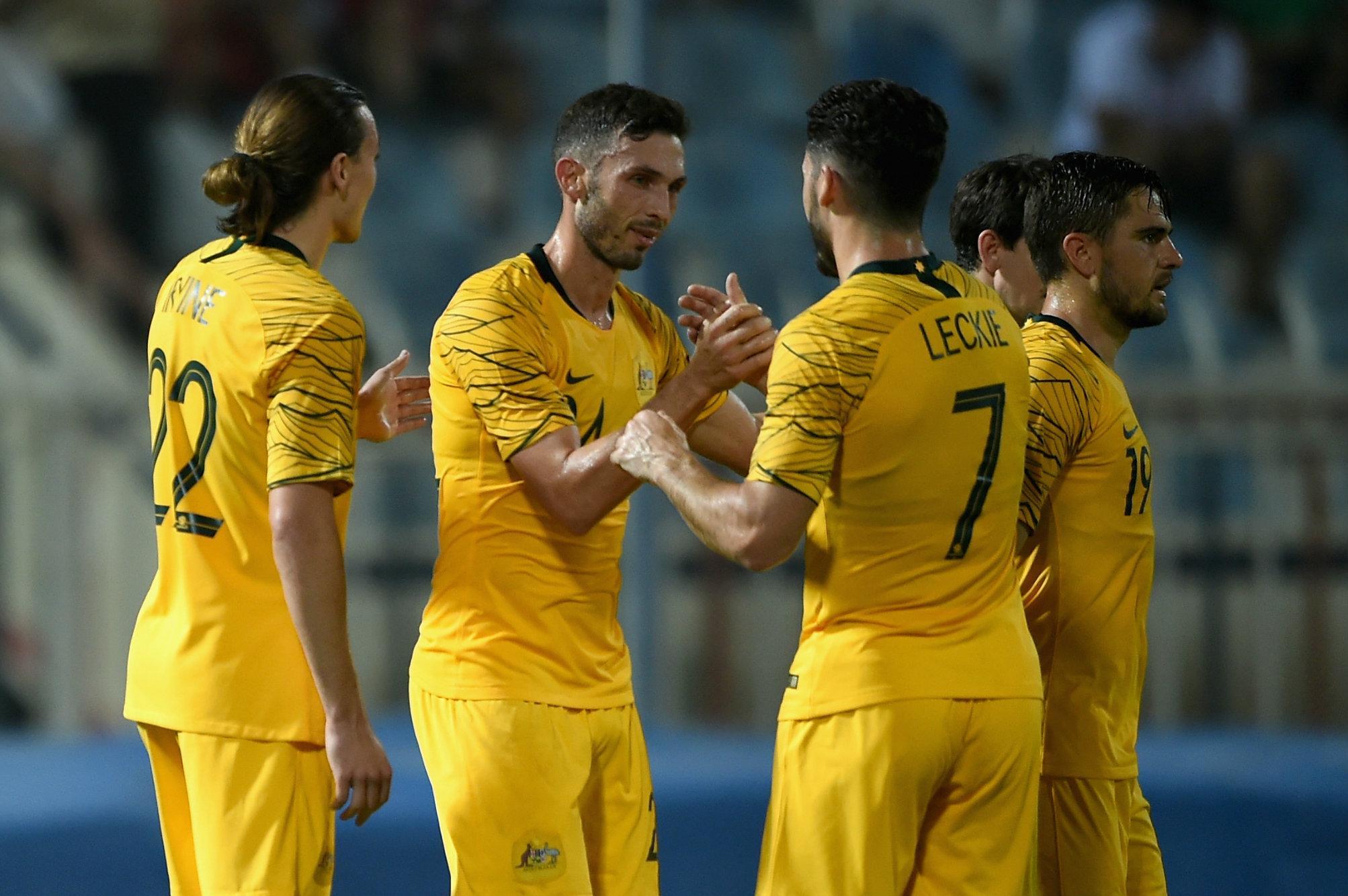 Caltex Socceroos celebrate a goal.