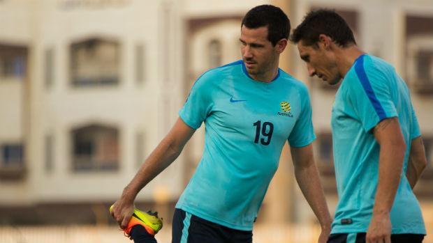 Caltex Socceroos Ryan McGowan and Mark Milligan in Jeddah.