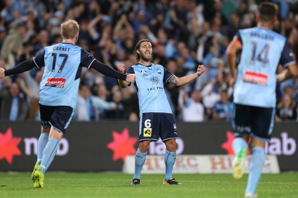 Josh Brillante celebrates his goal in the Sydney Derby.