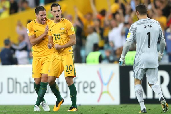 Trent Sainsbury celebrates the Caltex Socceroos win over Syria.
