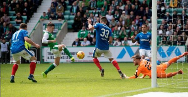 Jamie Maclaren scores for Hibs