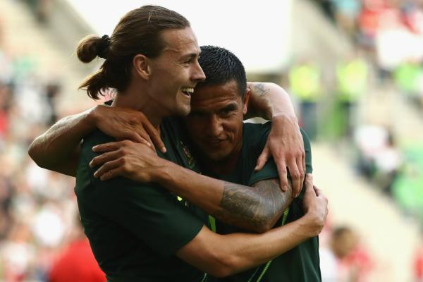Jackson Irvine and Tim Cahill